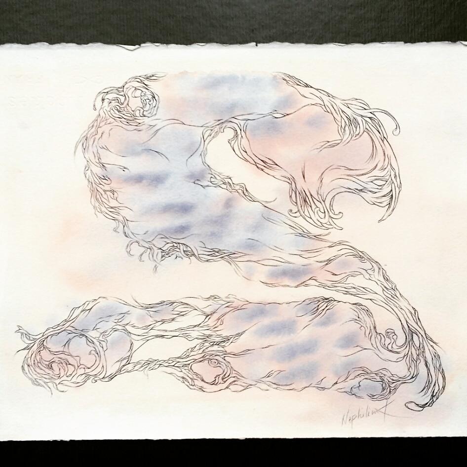 art by nephilimk - 2 - deux - les chiffres sensibles- aquarelle- albert camus l'homme révolté
