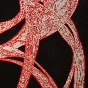 NephilimK - peinture symbolique - le rouge dans le noir - pour le rouge et le noir