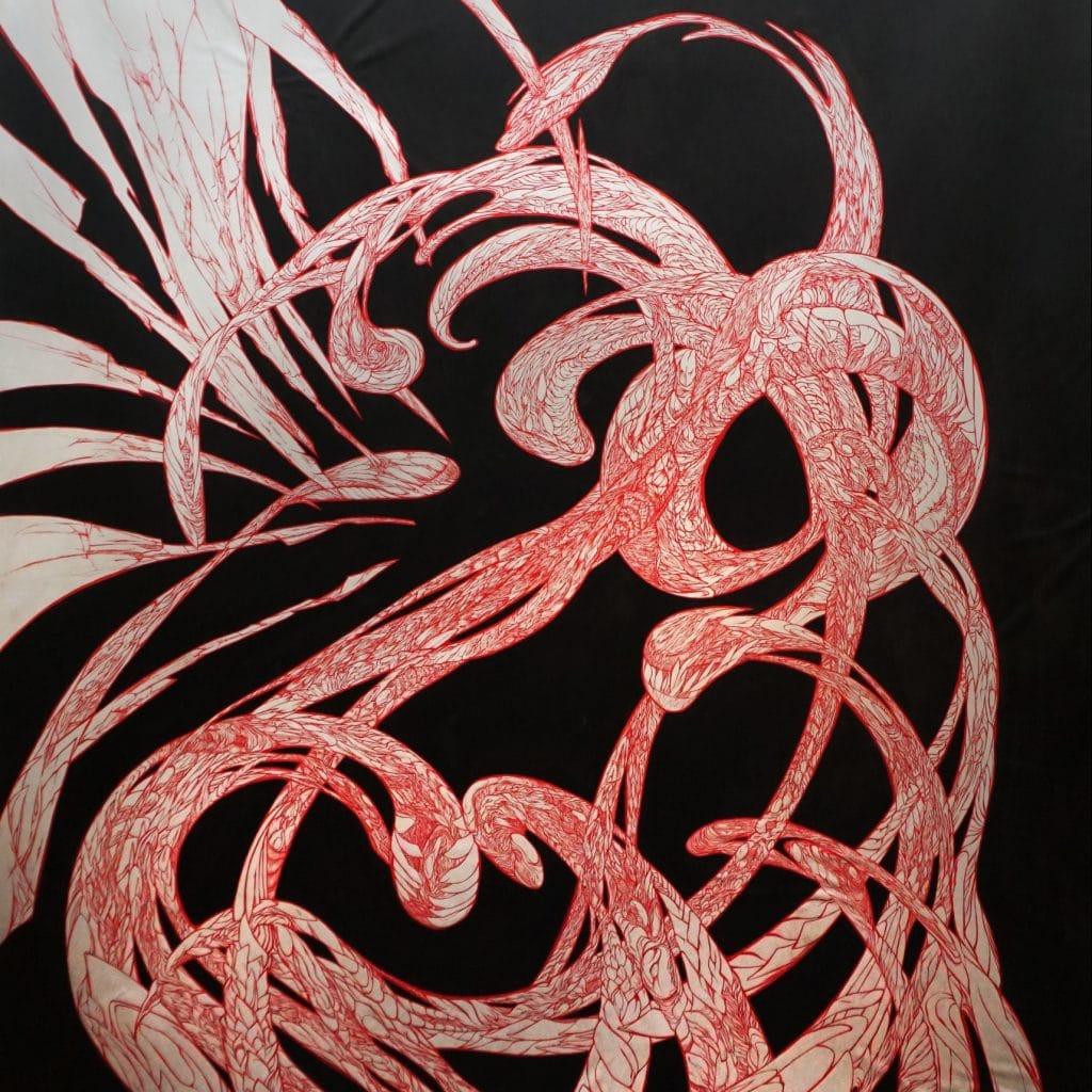 NephilimK - detail peinture - le rouge dans le noir - pour le rouge et le noir