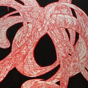 NephilimK - peinture organique - le rouge dans le noir - pour le rouge et le noir