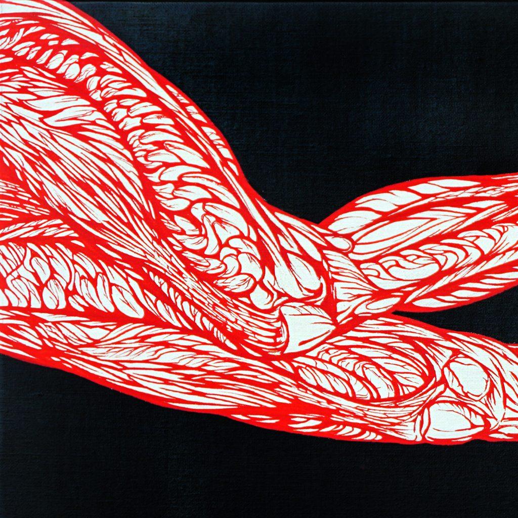 l'aiglon-détail jambes écorchées du panneau gauche-peinture acrylique- le rouge dans le noir- art by Nephilim K