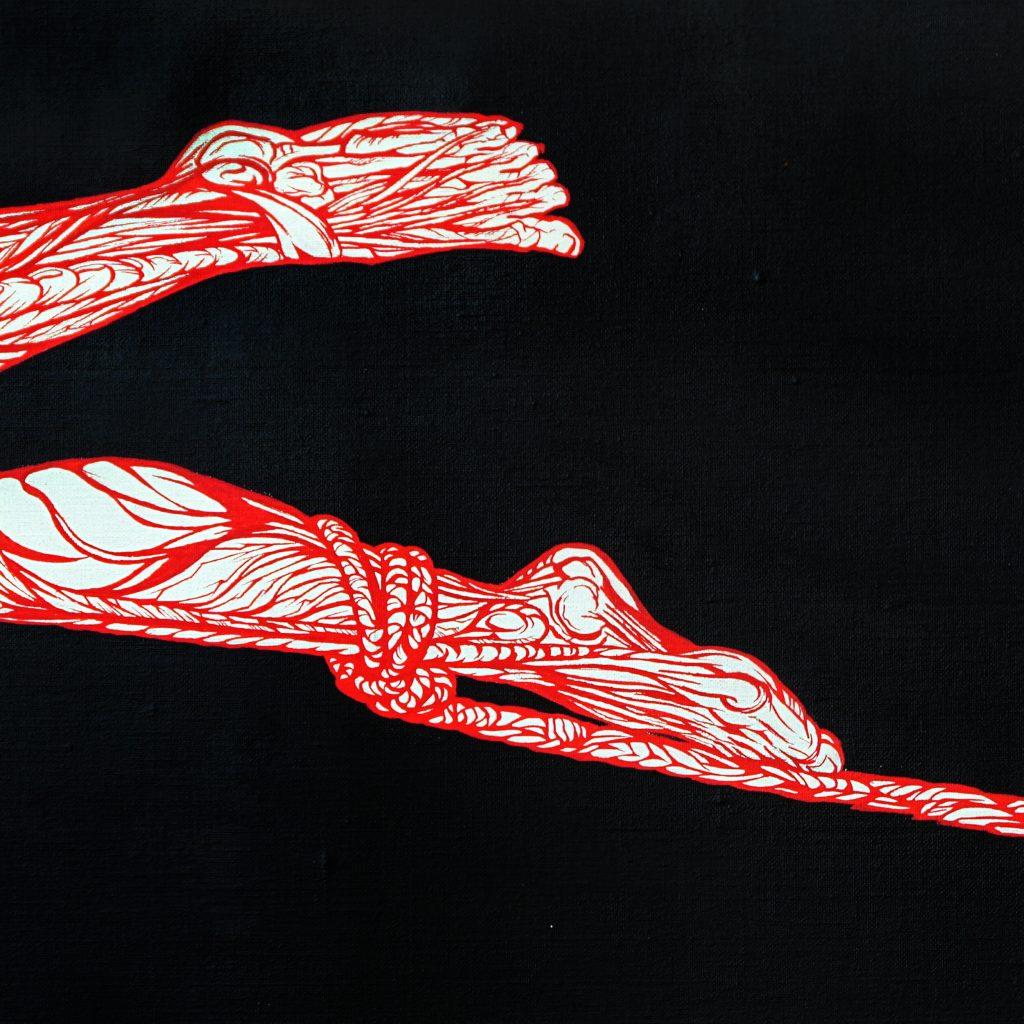 l'aiglon-détail pieds écorchés du panneau gauche-peinture acrylique- le rouge dans le noir- art by Nephilim K