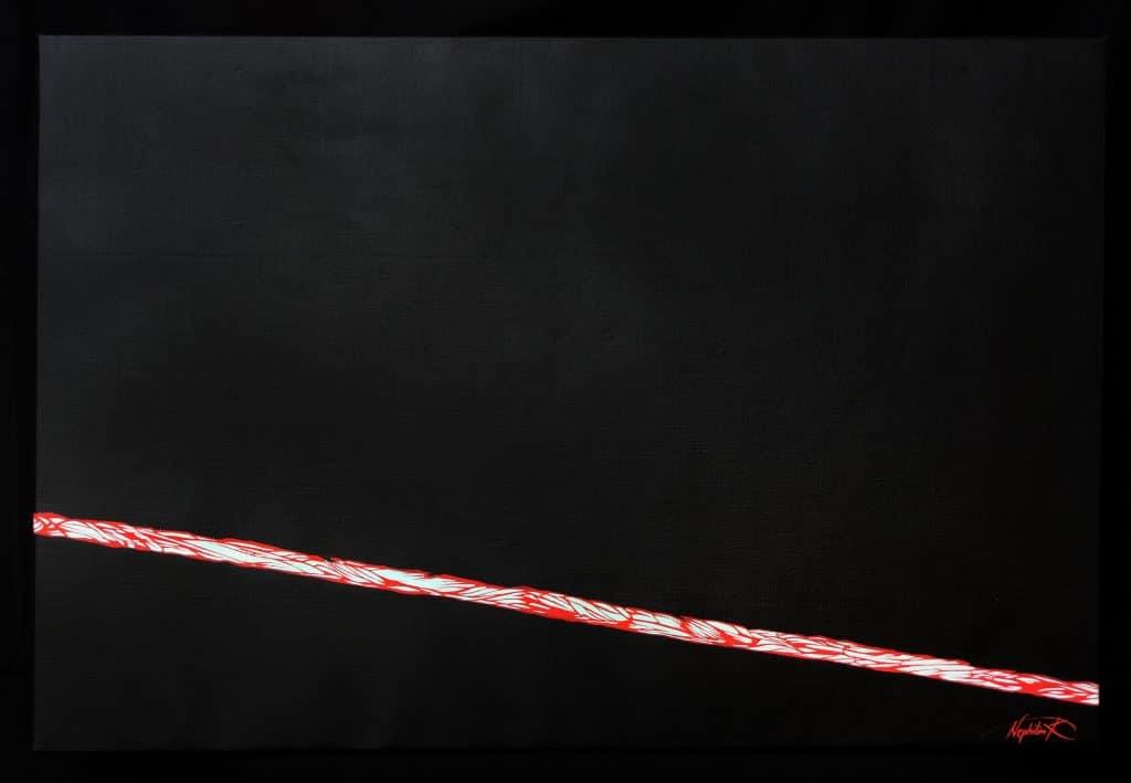 l'aiglon-panneau droit -peinture acrylique- le rouge dans le noir- art by Nephilim K