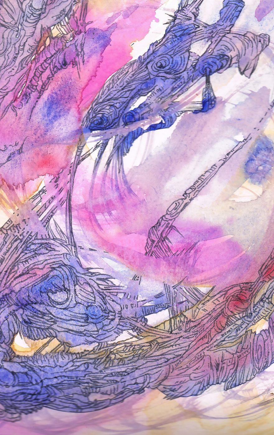 détail de excession-univers connu- dessin original de Marie-Catherine Arrighi - aquarelle d'artiste français- symbolist painting