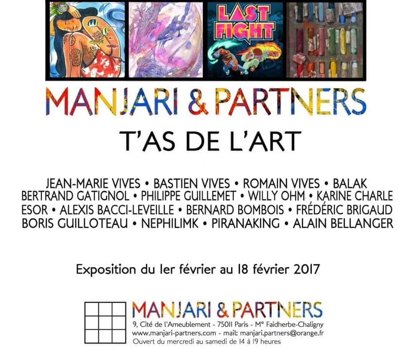 Affiche exposition galerie Manjari et Partners Paris avec Alexis Bacci, Bastien Vives, Bertrand Gatignol MC Arrighi etc etc