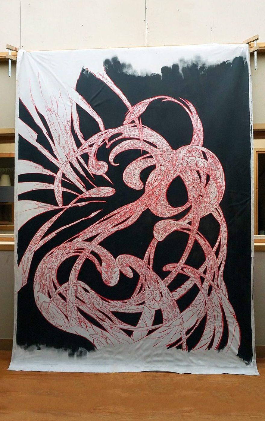 peinture-le-rouge-dans-le-noir-de-marie-catherine-arrighi-de casanova-atelier-à-vitry-sur-seine---artiste-contemporain-français-