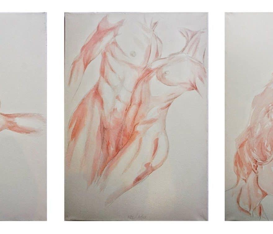 BonAmor-FolAmor-FinAmor-triptyque de Marie-Catherine Arrghi-Amour3 dessins inspirés du sens premier d'amour apparu dans les romans courtois médiévaux