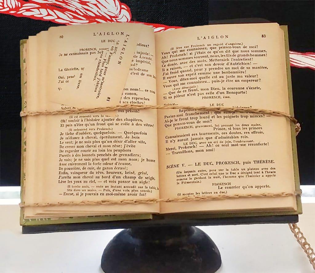Installation-livre-art-contemporain-français-marie-catherine--arrighi-reference-aiglon-roi-de-rome-corse-pièce-de-théâtre-d-edmond-rostand