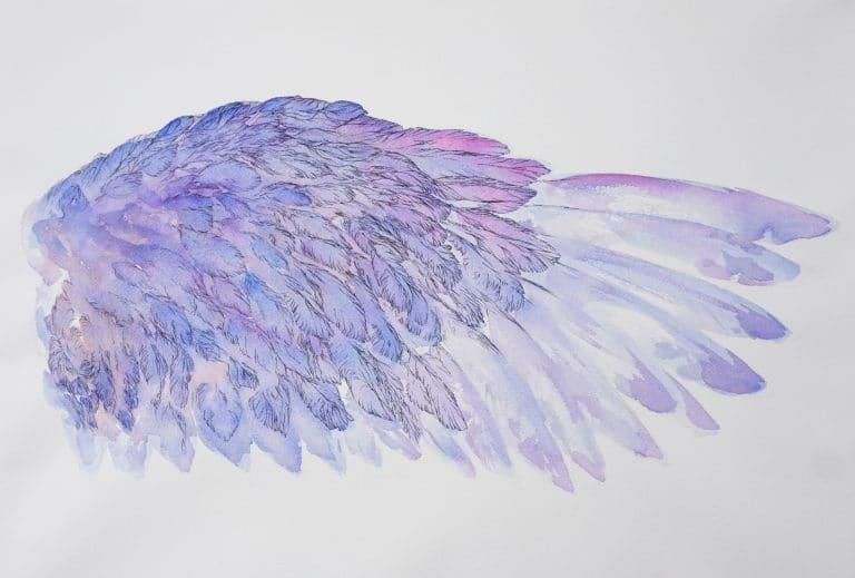 Mytyl l'aide droite de L'oiseau Bleu de Maurice Maeterlinck -ailes tableau peinture aquarelle par Marie-Catherine Arrighi- image tout droit réservé