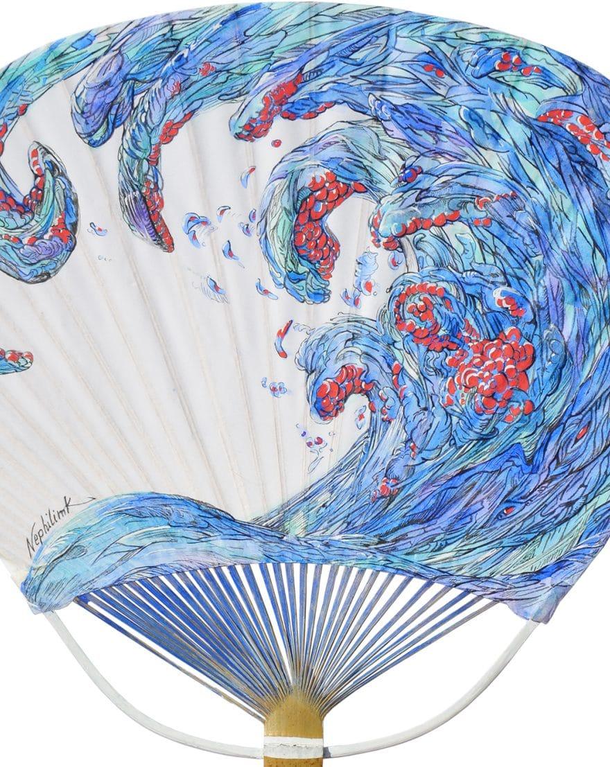 Tree of life- Hokusai tribute-uchiwa peint par l'artiste Marie-Catherine Arrighi - vente caritative organisé par l'ong BLOOM - reference à La Vague d'Hokusai