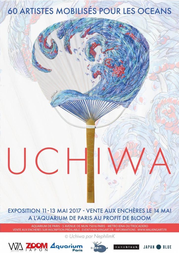 affiche officielle-exposition Uchiwa-la fragile beauté des Oceans- peinture sur uchiwa par l'artiste Marie-Catherine Arrighi - vente au profit de ONG BLOOM -grand aquarium de paris