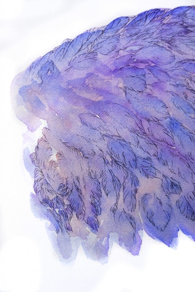 détail-mytyl-peinture-inspirée-de-l-oiseau-bleu--pièce-de-théâtre-de-maeterlinck-aile-gauche-art-by-MC-Arrighi-aka-Nephilim-K-détail-illustration-aquarelle