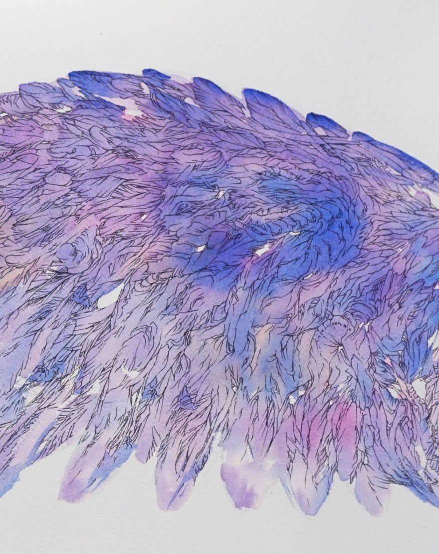 détail peinture inspirée de l oiseau-bleu- pièce de théâtre de maeterlinck aile-gauche-art-by-MC Arrighi aka Nephilim-K-détail-illustration aquarelle