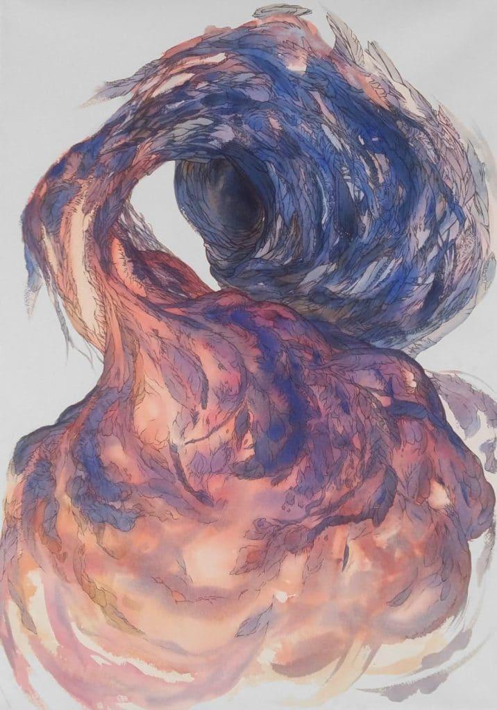 du-mal-les-fleurs-hommage-a-baudelaire-dessin aquarelle papier tendu sur chassis- art contemporain marie catherine arrighi de casanova