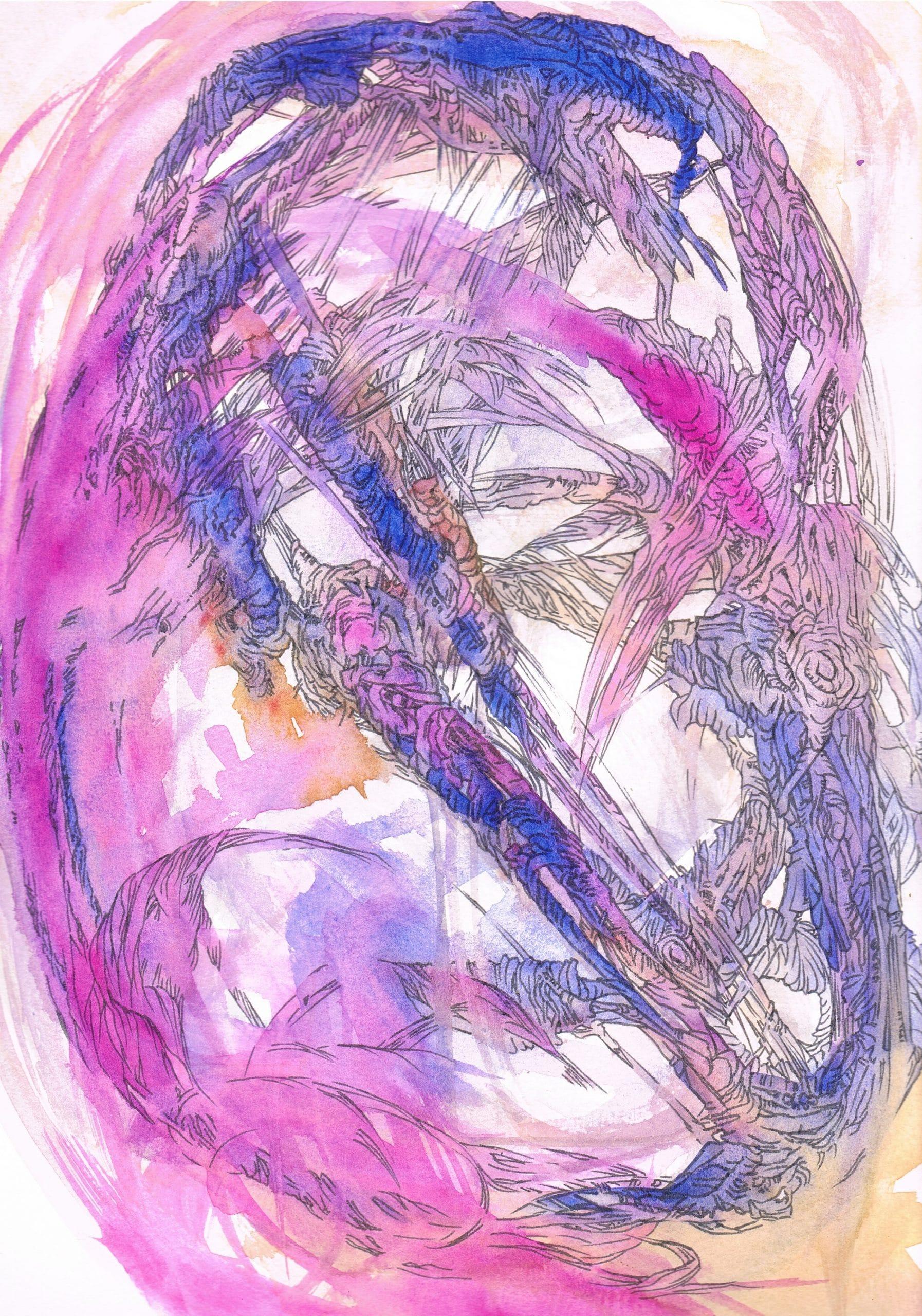 Excession univers alt- inspirée par le livre de Iain M. Banks Marie-Catherine Arrighi dessin contemporain français corse aquarelle