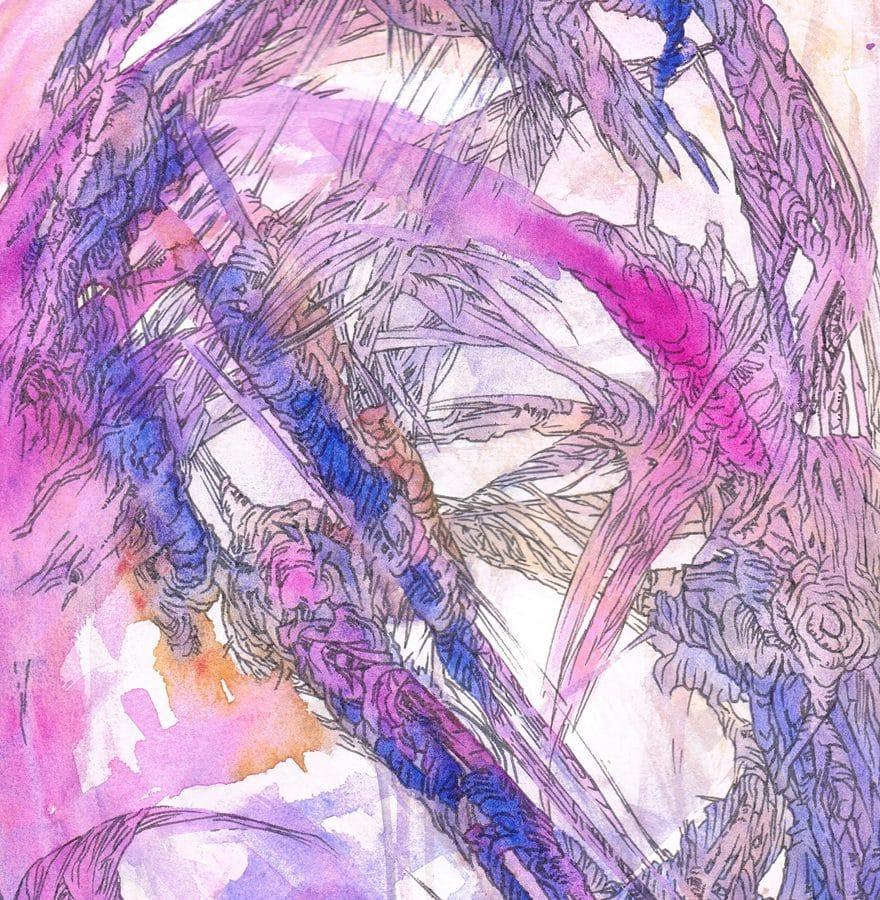 Détail du dessin Excession univers alt- inspirée par le livre de Iain M. Banks par Marie-Catherine Arrighi dessin artiste français corse - peinture aquarelle