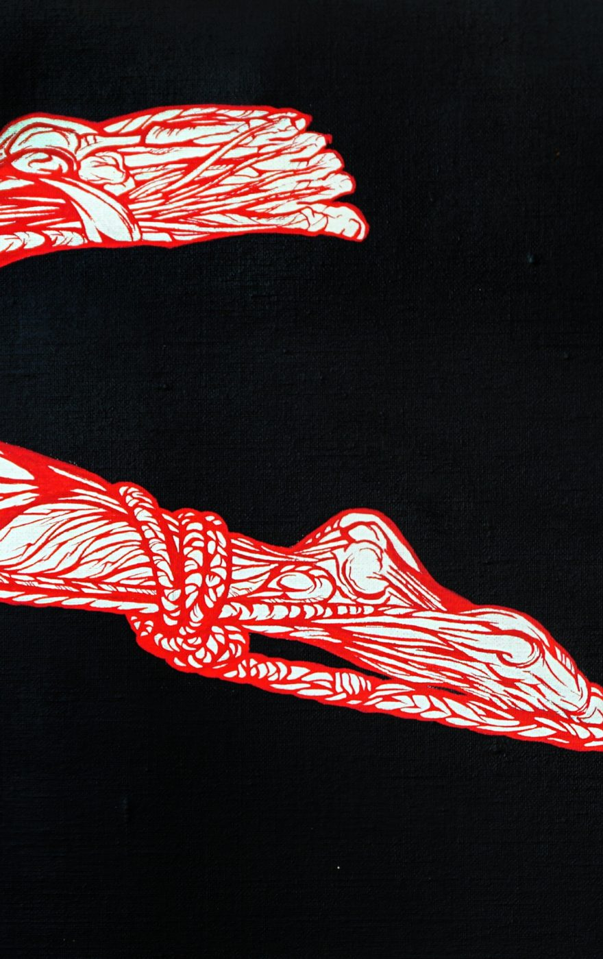 l'aiglon-anatomie du fatum détail-anatomie pied jambes-écorchées-corde shibari le-rouge-dans-le-noir-art peinture acrylique dessin-par Marie-Catherine Arrighi