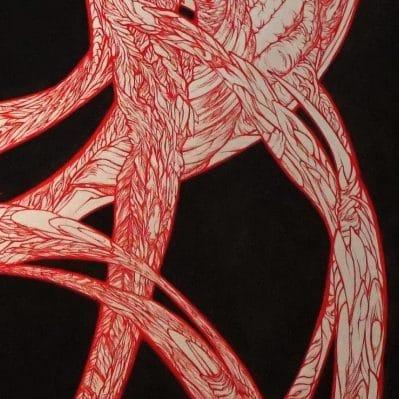 tableau de marie-catherine arrighi artiste peintre contemporain le-rouge-dans-le-noir-pour-le-rouge-et-le-noir-de Stendhal